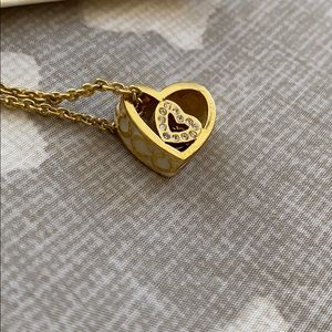 Gold Heart Coach Necklace